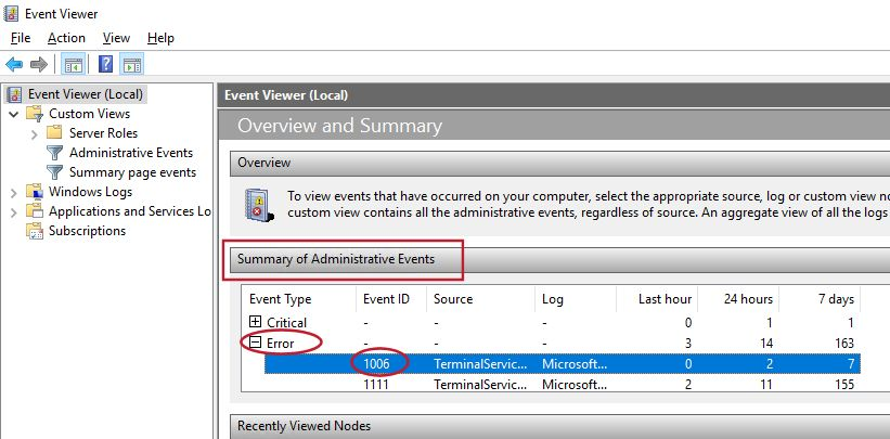 Checking event viewer log for event id 1006 too many terminal services login attempts